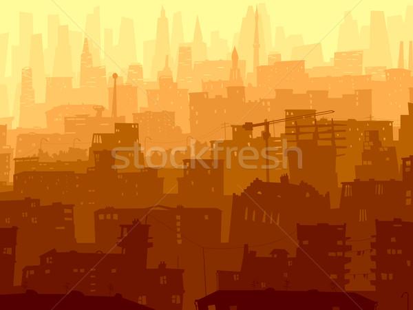 抽象的な 実例 ビッグ 市 日没 ベクトル ストックフォト © Vertyr