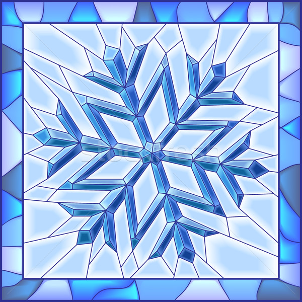 Snowflake stained glass window with frame. Stock photo © Vertyr
