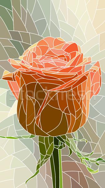 花 赤いバラ ベクトル 垂直 モザイク ストックフォト © Vertyr