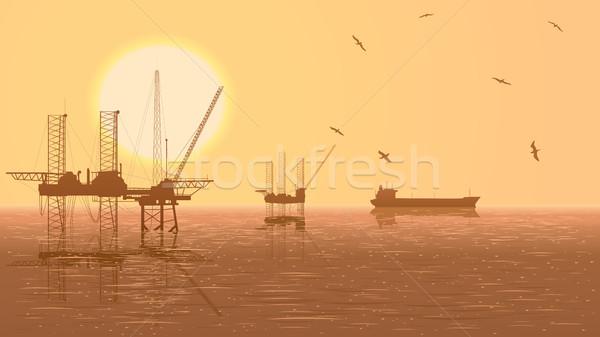 Horizontal ilustração indústria do petróleo Óleo perfuração Foto stock © Vertyr