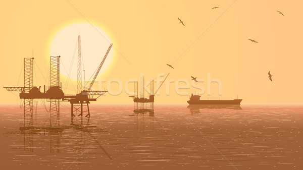Horizontaal illustratie olie-industrie olie offshore boren Stockfoto © Vertyr