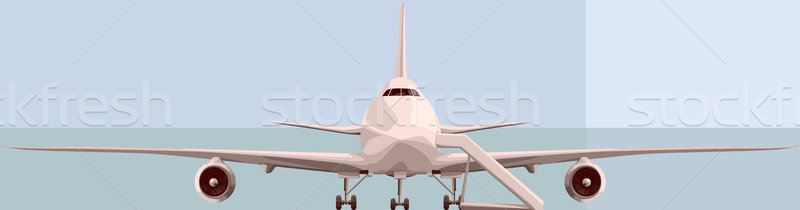 Vector illustration of big airplan in front. Stock photo © Vertyr