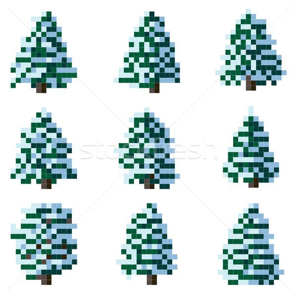 セット ピクセル 冬 ツリー 単純な ストックフォト © Vertyr