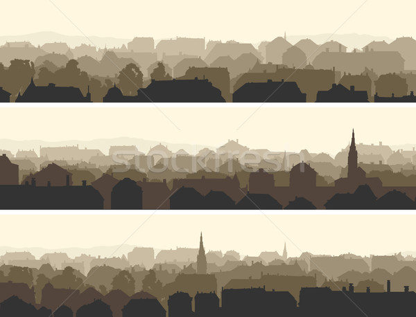 Horizontal ilustración grande europeo ciudad vector Foto stock © Vertyr