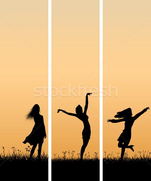 垂直 実例 少女 日没 ベクトル バナー ストックフォト © Vertyr