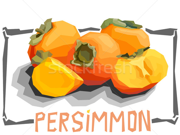 Vector simple illustration of fruit persimmons. Stock photo © Vertyr