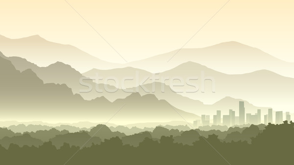 Horizontal cartoon illustration misty forêt collines Photo stock © Vertyr