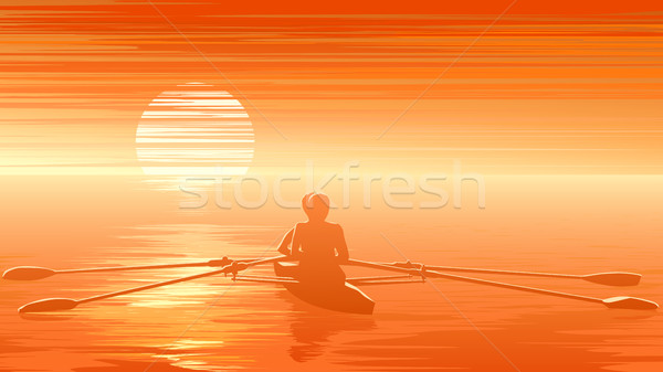 Illustration of sunset with rowers at sunset. Stock photo © Vertyr