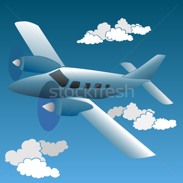 Vector illustration of cartoon small private plane Stock photo © Vertyr