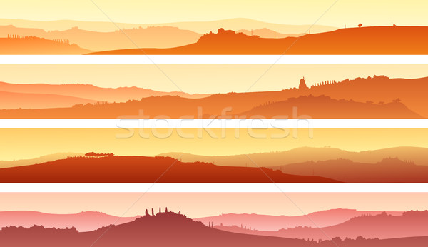 Stock photo: Horizontal banners of landscape of valley with manors at sunset.
