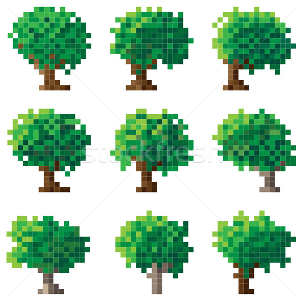 Set pixel albero semplice verde legno Foto d'archivio © Vertyr