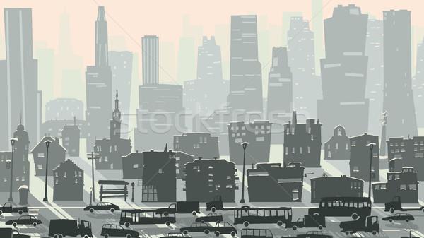 Abstract kinderachtig illustratie groot stad auto Stockfoto © Vertyr
