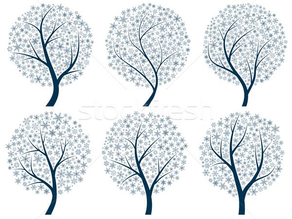 抽象的な シルエット 木 雪 セット ベクトル ストックフォト © Vertyr