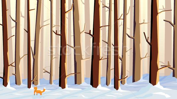 Orizzontale illustrazione cartoon foresta Fox abstract Foto d'archivio © Vertyr