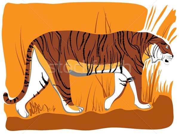 Cartoon tijger silhouet jungle asian chinese Stockfoto © Vertyr