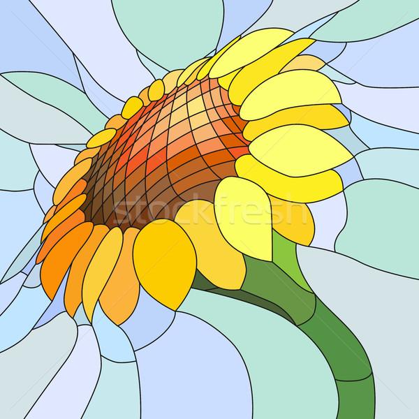 黄色 ヒマワリ ベクトル モザイク 水色 ストックフォト © Vertyr