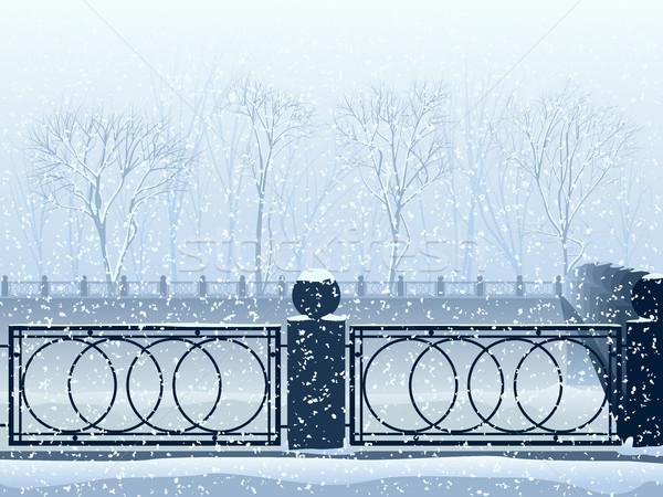 Kar yağışı park nehir kanal köprü örnek Stok fotoğraf © Vertyr