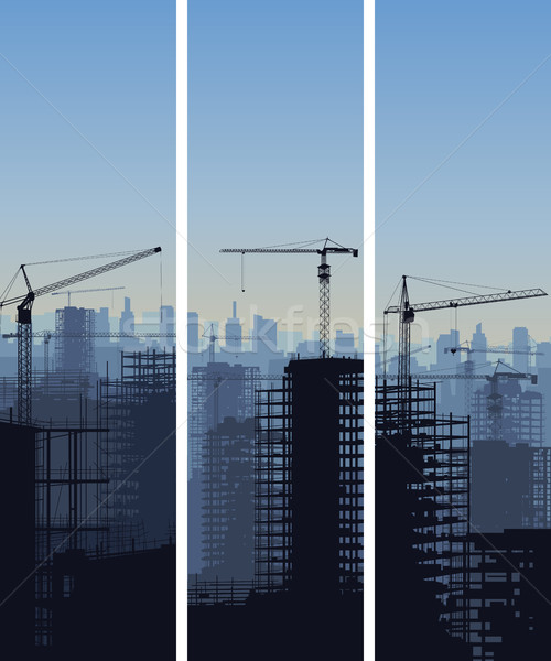 Vertical banner of construction site with cranes and building. Stock photo © Vertyr