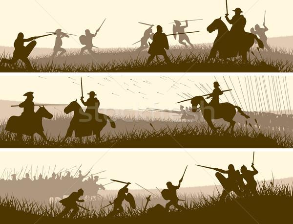 Horizontal banners medieval batalla vector Foto stock © Vertyr