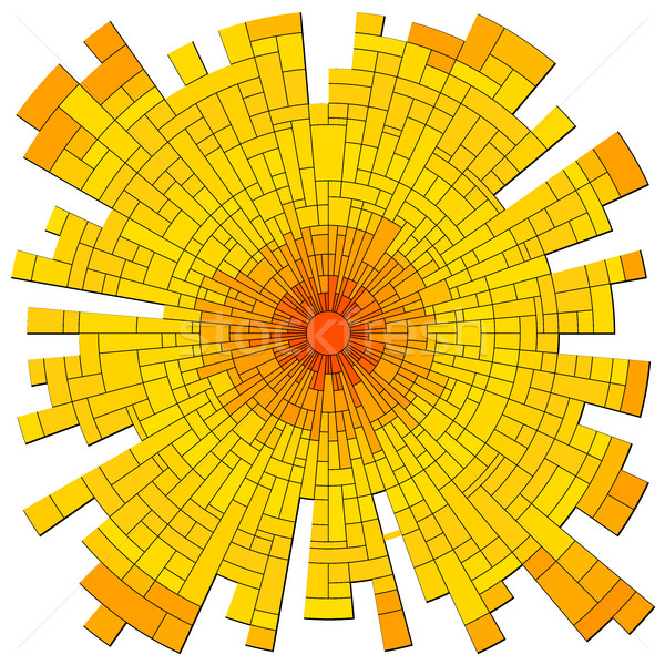 Vector mosaic red sun with rays. Stock photo © Vertyr