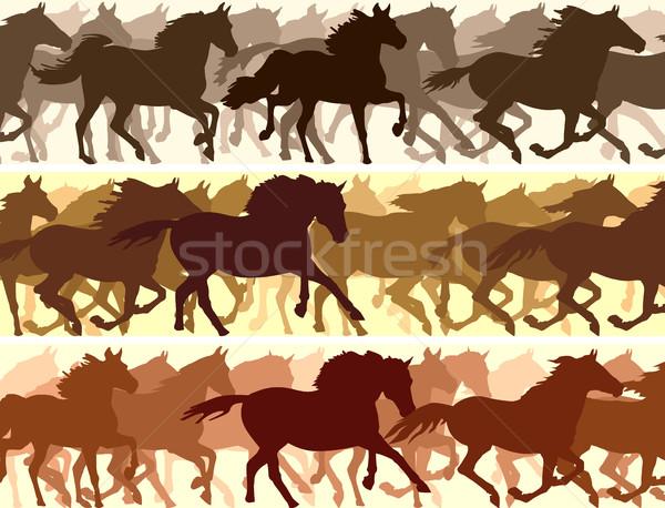 Horizontal ilustración caballos vector banner Foto stock © Vertyr