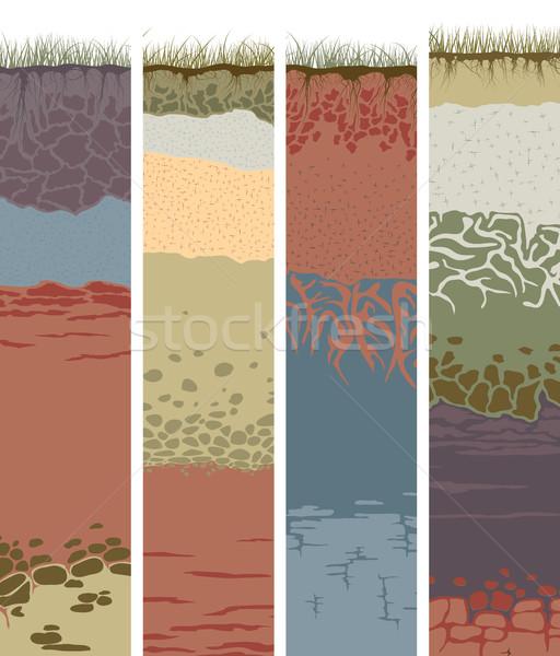 набор вертикальный Баннеры Cut почвы колонн Сток-фото © Vertyr