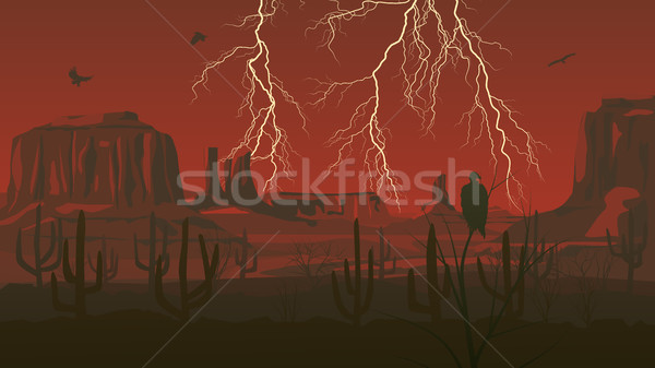 Horizontal illustration of prairie wild west with thunderstorm l Stock photo © Vertyr