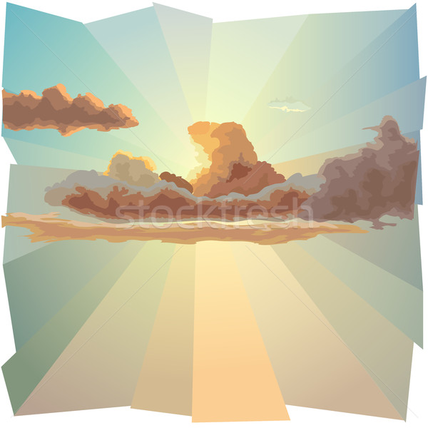 Background with cloud covers the sun and sun's rays. Stock photo © Vertyr