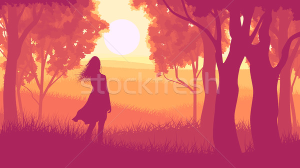 Horizontal illustration within forest with silhouette girl in su Stock photo © Vertyr