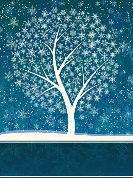 Inverno cartão queda de neve neve árvore vetor Foto stock © Vertyr
