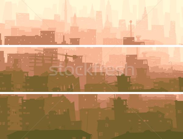 抽象的な 水平な バナー ビッグ 市 日没 ストックフォト © Vertyr