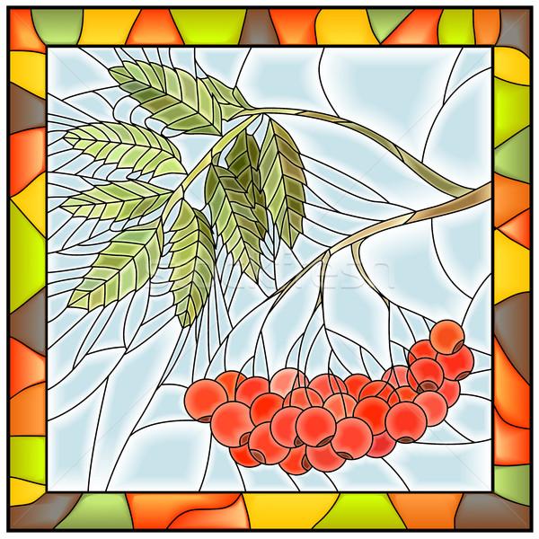 Rama bayas vidrieras marco de ventana luz vidrio Foto stock © Vertyr