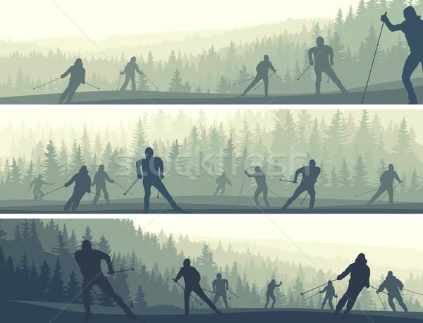 горизонтальный Баннеры холмы лес аннотация Сток-фото © Vertyr