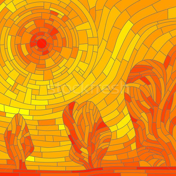 モザイク 抽象的な 赤 太陽 木 黄色 ストックフォト © Vertyr