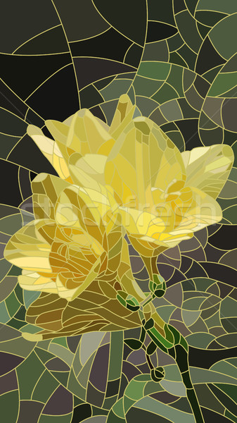 Fleur jaune iris vecteur vertical mosaïque Photo stock © Vertyr