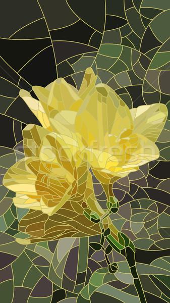 Flor amarelo Íris vetor vertical mosaico Foto stock © Vertyr