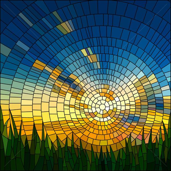 Stock fotó: Naplemente · fű · kék · ég · festett · üveg · ablak · égbolt