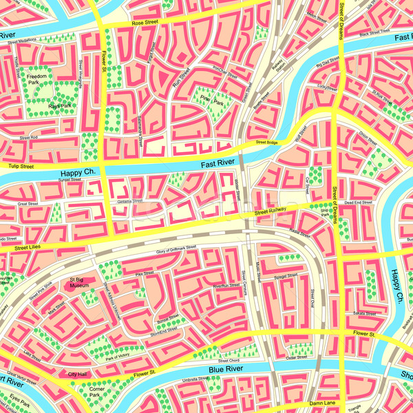 Seamless map unknown city with names. Stock photo © Vertyr