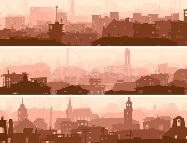 Abstrato horizontal bandeira cidade telhados vetor Foto stock © Vertyr