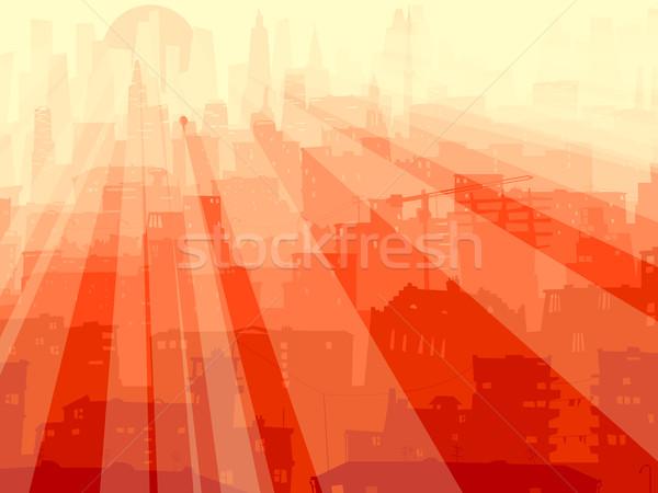Abstract illustratie groot stad stralen licht Stockfoto © Vertyr