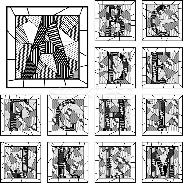 Mosaic capital letters alphabet patterned lines. Stock photo © Vertyr