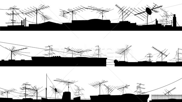 Set of silhouettes of roof with antennas. Stock photo © Vertyr