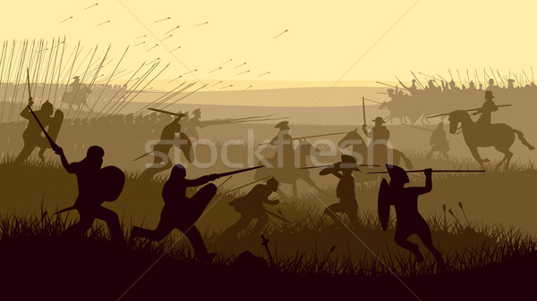 Resumen ilustración medieval batalla horizontal Foto stock © Vertyr