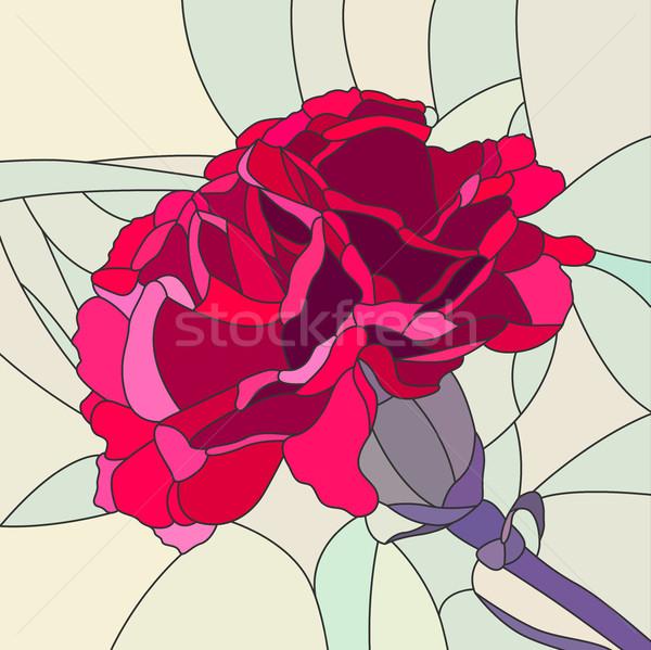 çiçek kırmızı karanfil vektör mozaik büyük Stok fotoğraf © Vertyr