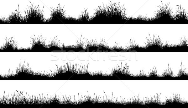 水平な バナー 草原 シルエット 草 セット ストックフォト © Vertyr