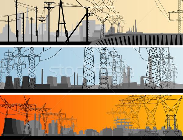 Resumen horizontal banner industrial ciudad vector Foto stock © Vertyr