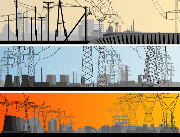 Abstract horizontaal banner industriële stad vector Stockfoto © Vertyr