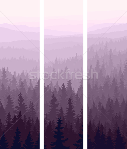 Vertical banners of hills coniferous wood. Stock photo © Vertyr