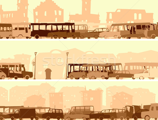Horizontal banner with a lot of cars,bus on street. Stock photo © Vertyr
