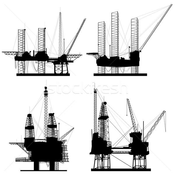 Silhouetten olie-industrie olie offshore boren Stockfoto © Vertyr